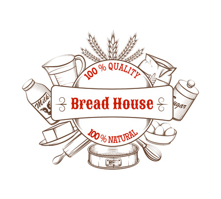 Vintage bakery hand drawn with food ingredients and kitchen tools. Retro label or logo, bread quality, vector illustration Ilustracja
