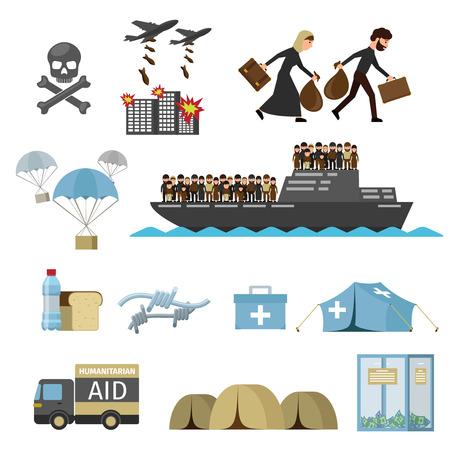 Víctimas de guerra concepto. Refugiados iconos planos. Iconos del vector