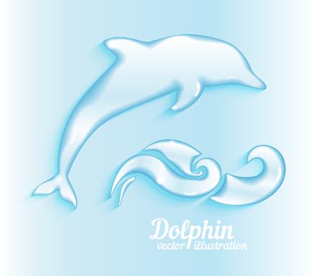 sealife: Jumping dolphin. Ocean mammal, wildlife aquatic, swim and fin, sealife natural, vector ilustration Illustration