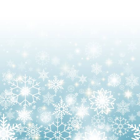 gleam: Christmas blue background with snowflakes horizontal seamless pattern Illustration