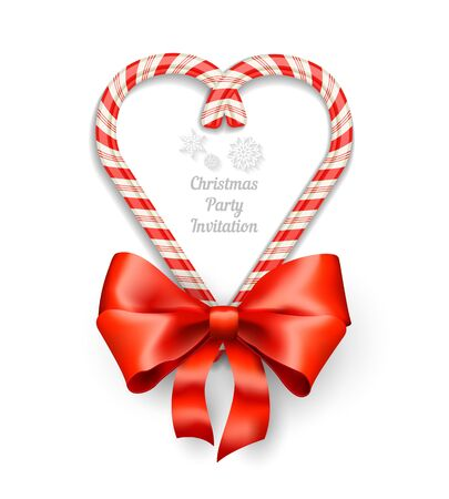 christmas decorations with white background: Candy Canes in Heart Shape Frame with Text for Christmas Invitation