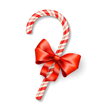 candycane: Vector christmas candy cane with red bow isolated on white
