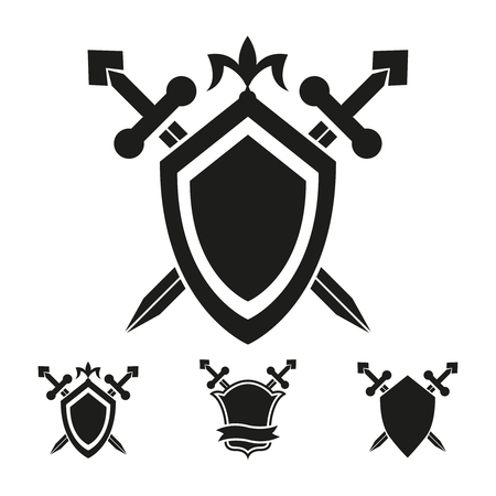 medieval sword: Coat of arms medieval knight shield vector templates