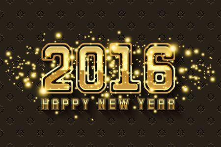 metallic background: Happy New Year 2016 background in gold metallic design Illustration