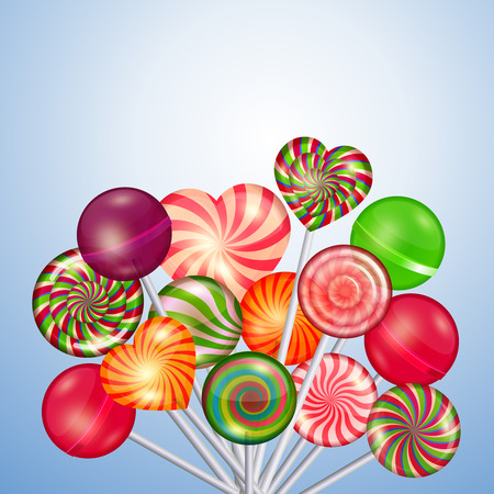 Candys, sweets, lollipops background. Food and candy, sugar dessert and color spiral, illustration Ilustração