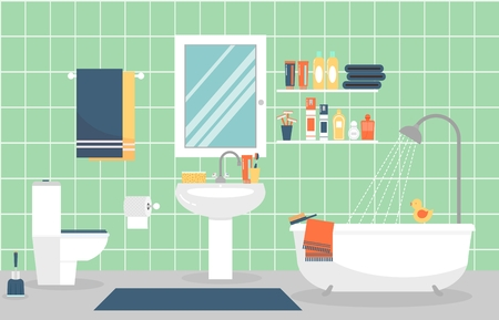 towel: Modern bathroom interior with furniture in flat style. Design modern bathroom, toothpaste and toothbrush, razor and lotion. illustration Illustration