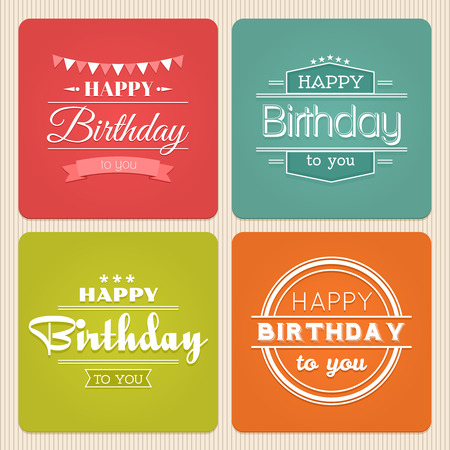 birthdays: Happy birthday typography label set. Vintage design celebration, party decoration illustration