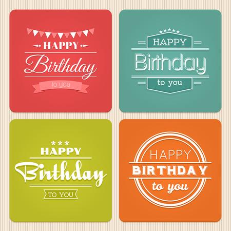 Happy birthday typography label set. Vintage design celebration, party decoration illustration
