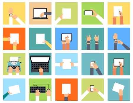 computer devices: Flat hand icons holding various devices and hands are doing different actions. Smart watch, laptop and paper, pointing computer, keyboard and typewriter, illustration