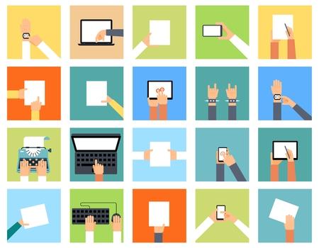 maquina de escribir: Iconos de la mano plana que sostienen diversos dispositivos y las manos están haciendo diferentes acciones. Reloj inteligente, portátil y papel, señalando la computadora, el teclado y la máquina de escribir, ilustración Vectores