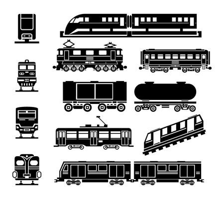Passenger and public rail city transport black icon set.  Transportation and wagon, passenger transport, urban tramway illustration Ilustracja