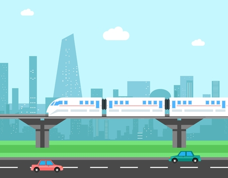modern train: Train and cityscape. Transportation concept. Transport city, railroad and traffic, illustration Illustration