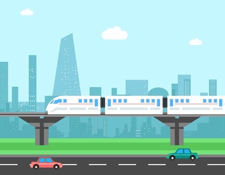 tren: Tren y el paisaje urbano. el concepto de transporte. ciudad del transporte, ferrocarril y el tr�fico, la ilustraci�n Vectores
