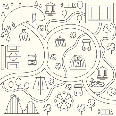 at leisure: Park map  outline design style. Infographic elements. Ferris wheel, tent and carousel, playground and tree, illustration