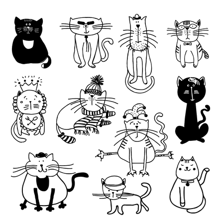 black cat silhouette: Cute cats sketch illustration. Pet animal kitten, sketch cartoon feline, domestic mammal set Illustration