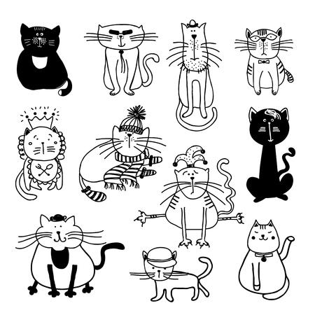 Gatos lindos boceto ilustración. Mascotas gatito animal, felino boceto de dibujos animados, juego mamífero doméstico Vectores