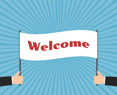 hands holding sign: Hands businessman holding welcome sign. Business concept background. Message text, showing ,  illustration