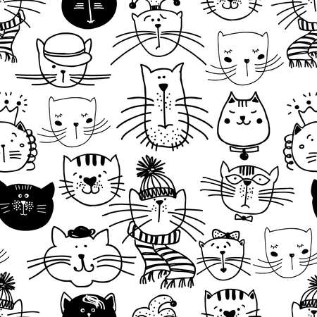 pets: funny cats pattern. Seamless animal pet, illustration Illustration