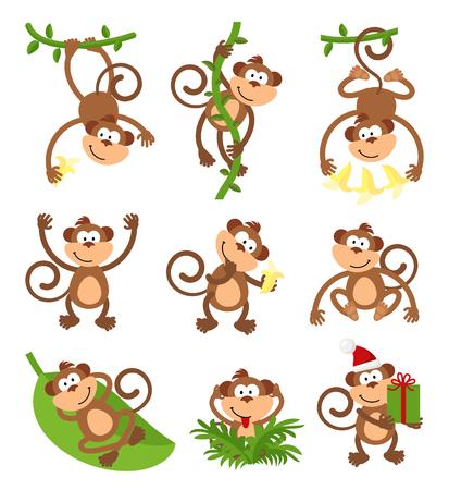 platano caricatura: establece monos juguetones car�cter. zodiaco chino 2016 del A�o Nuevo. mono animal, fauna divertida, ilustraci�n
