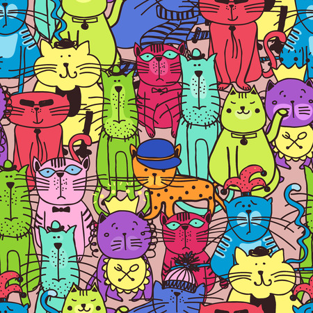 kitten cartoon: Seamless doodle cat pattern. Animal pet kitten, art fabric, illustration