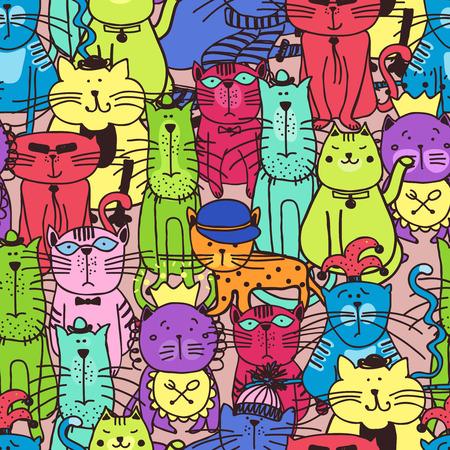 koty: Seamless doodle wzór kota. Zwierząt domowych kotek, sztuki tkaniny, ilustracja