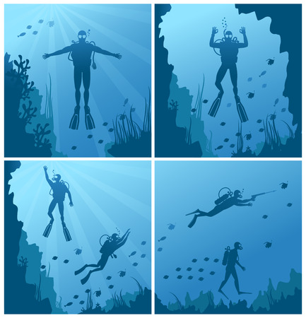 swimming silhouette: Scuba divers under water. Ocean and sea, diver deep sport, diving and reef, natural fish. illustration