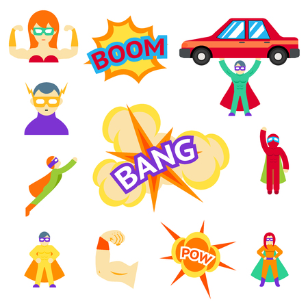 heroic: flat icons characters set. Cape and action , car and mask, flying heroic, illustration
