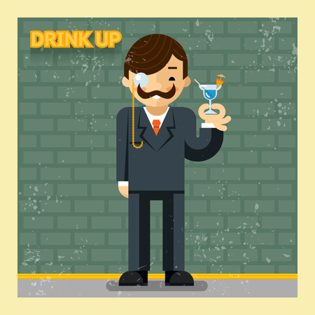 eyepiece: Drink up concept. Cocktail alcohol, cheerful and smiling, leisure  illustration