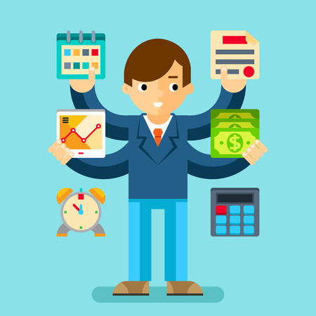 multi tasking: Multi tasking manager office. Business planning and organization, calculator and money, illustration
