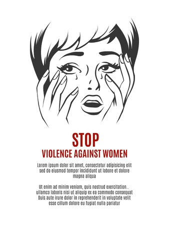 suffering: Woman cries. Stop violence against women concept. Fear and abuse, afraid girl, face sad illustration