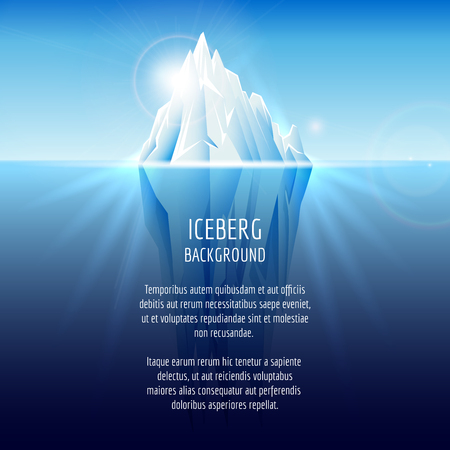 antarctic: Realistic iceberg on water. Antarctic landscape, nature ocean, snow and ice, illustration