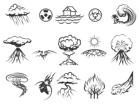 Natural disaster icons set. Tornado and radiation, apocalypse and typhoon, asteroid and flood, fire and storm, illustration Illustration