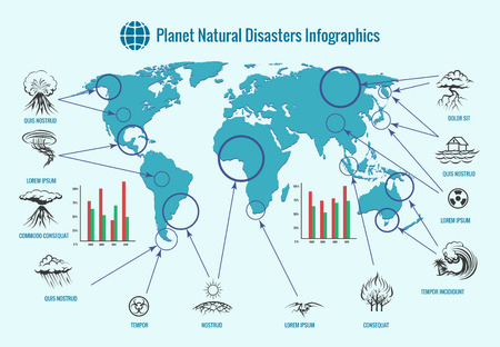 disaster: Planet natural disasters infographics. Earthquake and flood, tornado and tsunami, fire and eruption volcano, storm and hurricane, illustration Illustration