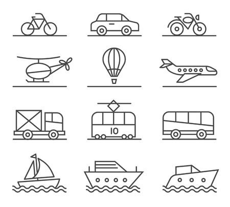City transport icons set. Automobile and balloon, lorry and yacht, auto and motorcycle, boat and helicopter, illustration