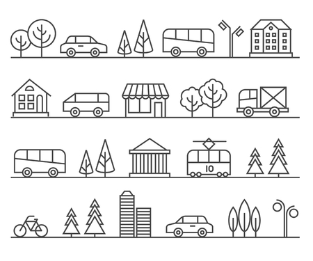 Line city illustration. urban landscape. Architecture town, cityscape street illustration Stock Illustratie