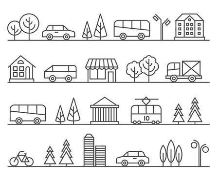 Line city illustration. urban landscape. Architecture town, cityscape street illustration Vettoriali