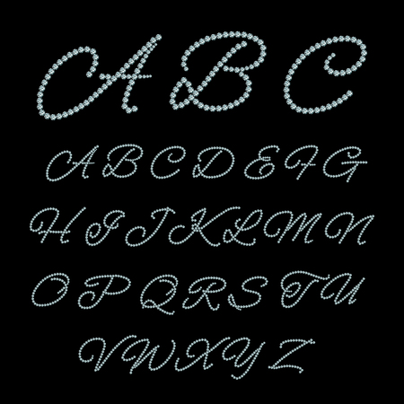 calligraphical: Diamond jewelry alphabet. Luxury glamour calligraphical, crystal diamond, abc gem, illustration