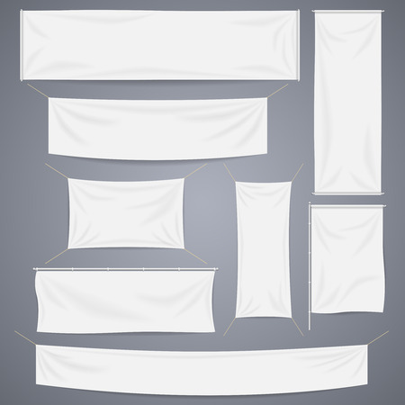 hanging banner: White textile banners with folds template set. Separate shadow. Cotton and canvas, flag blank, advertising empty, illustration