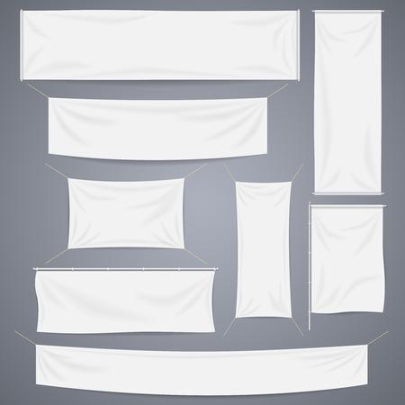 Witte textiel banners met plooien template set. Afzonderlijke schaduw. Katoen en canvas, de vlag leeg, reclame leeg, illustratie