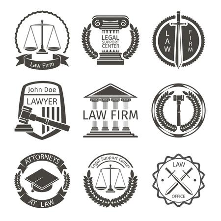 justicia: Abogado y asesoría jurídica, etiquetas emblema establecen. Fiscal y la escala, el balance de tarjeta de identificación, la protección y el abogado, ilustración Vectores
