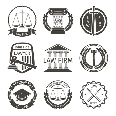 law and order: Lawyer and law office , emblem labels  set. Attorney and scale, badge balance, protection and lawyer, illustration Illustration