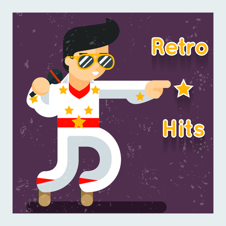 the vocalist: Retro hits singer . Disco and sound, entertainment and audio, illustration