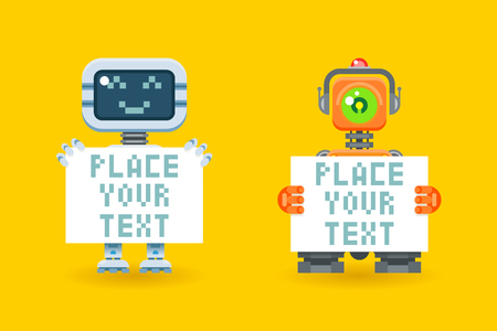 paper board: Robots with blank paper with place for text. Cyborg with board, robotic futuristic with sheet, illustration Illustration