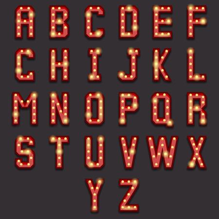 a glamour: Retro lightbulb alphabet. Vintage letter, lamp bright, lightbulb typography, abc glowing, illustration