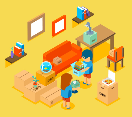 comfortable chair: Moving into new apartment. Isometric 3d. Comfortable sofa, table and chair, things illustration