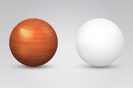 sphere: Realistic white ball and wooden sphere. Round shape, geometry globe figure, illustration