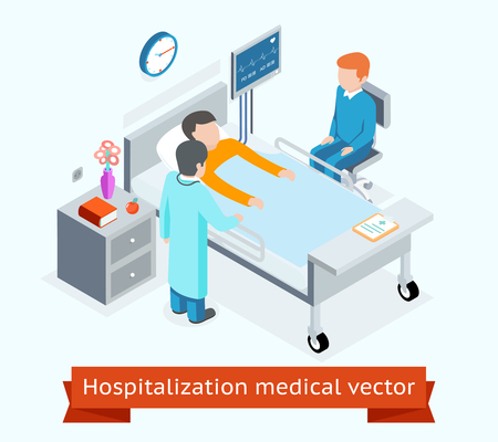 character design: Hospitalization medical 3D isometric concept patient hospital bed. Medicine and health, healthcare and care medical people, illustration Illustration