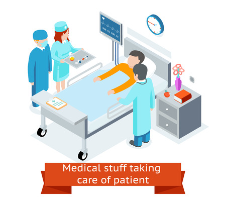observational: Medical stuff taking care patient in hospital ward. 3D isometric. Medicine and health, healthcare and specialist,  illustration