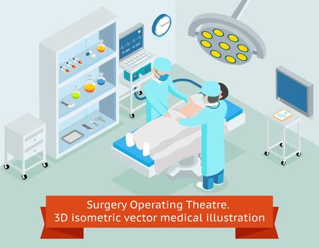 Chirurgia sali operacyjnej. 3D izometryczny medyczną. Postępowanie w szpitalu, lekarz chirurg, praca jałowa, opieki zdrowotnej chirurgiczne, ilustracji Ilustracje wektorowe