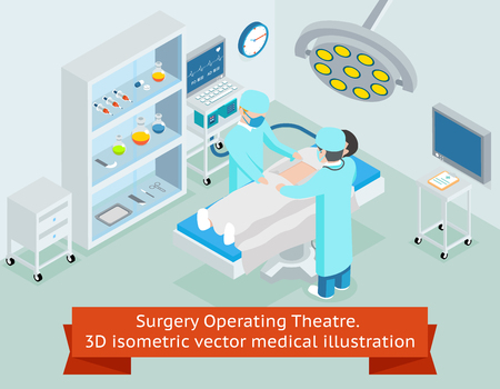 operation: Surgery operating theatre. 3D isometric medical. Procedure in hospital, surgeon doctor, operation sterile, surgical healthcare, illustration